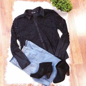 New York & Co Black Lace Button Down Shirt